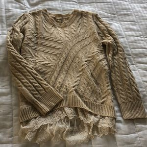 Sweaters - Cable knit Sweater with lace